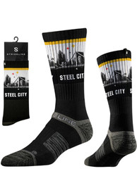 Strideline Pittsburgh Mens Black Steel City View Crew Socks