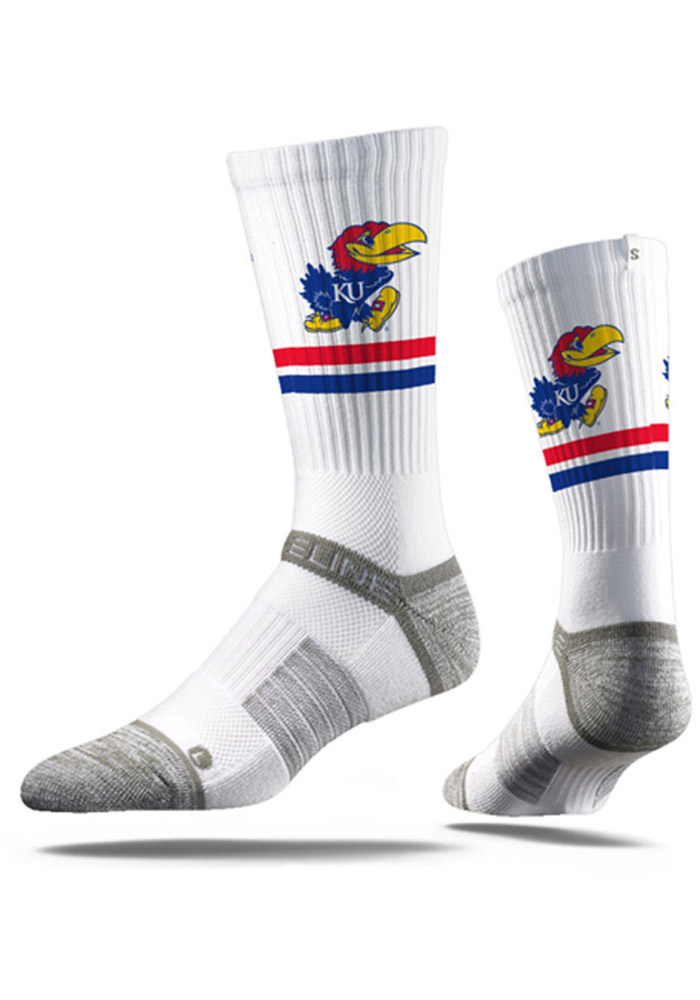 Kansas Jayhawks Strideline Two Stripe Mens Crew Socks - Image 1