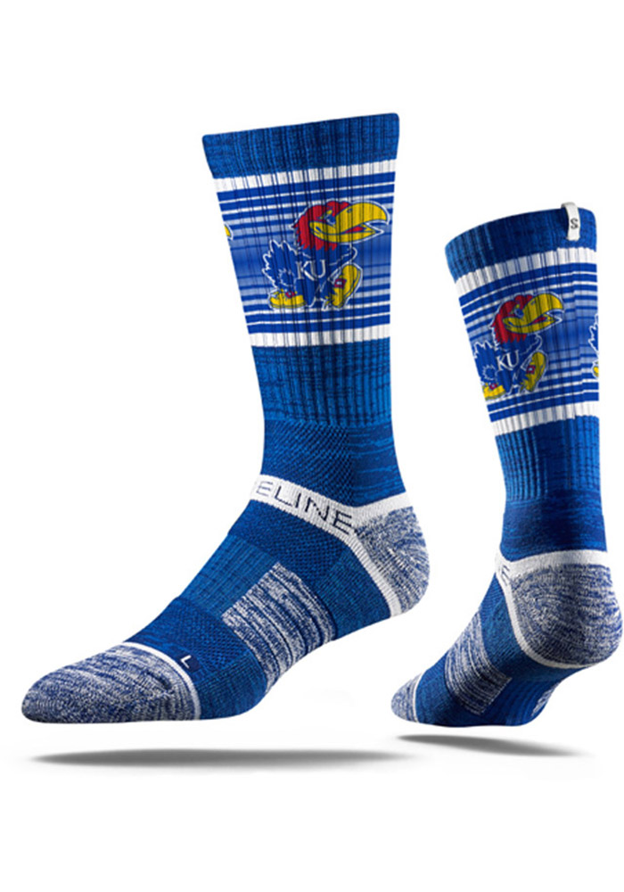 Strideline Kansas Jayhawks Mens Blue Stripe Crew Socks