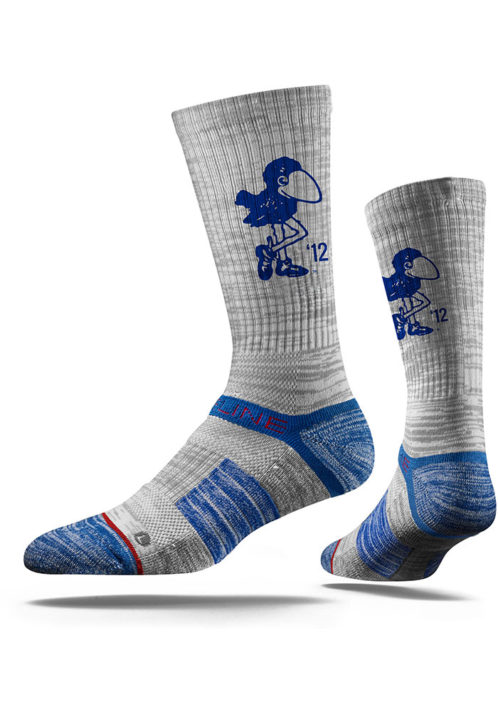 Strideline Kansas Jayhawks Mens Grey 1912 Heather Crew Socks