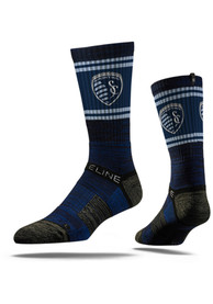 Strideline Sporting Kansas City Mens Navy Blue Fade Stripe Crew Socks