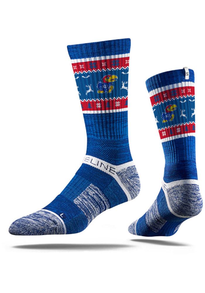 Strideline Kansas Jayhawks Mens Blue Ugly Sweater Crew Socks