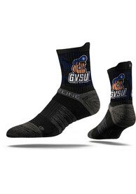 Strideline Grand Valley State Lakers Mens Black Team Logo Quarter Socks