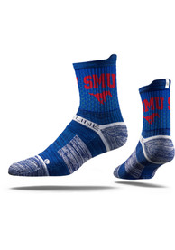 Strideline SMU Mustangs Mens Blue Team Logo Quarter Socks