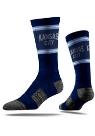 Strideline Kansas City Mens Navy Blue Lenon Vivicolor Crew Socks