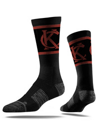 Strideline Kansas City Mens Black KC Interlock Vivicolor Crew Socks