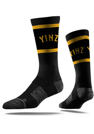 Strideline Pittsburgh Mens Black Yinz Vivicolor Crew Socks