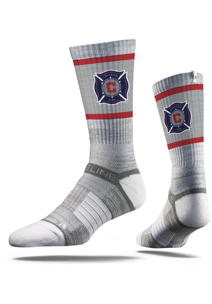 Chicago Fire Strideline Team Logo Crew Socks - Grey