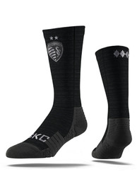 Strideline Sporting Kansas City Mens Black Team Logo Crew Socks