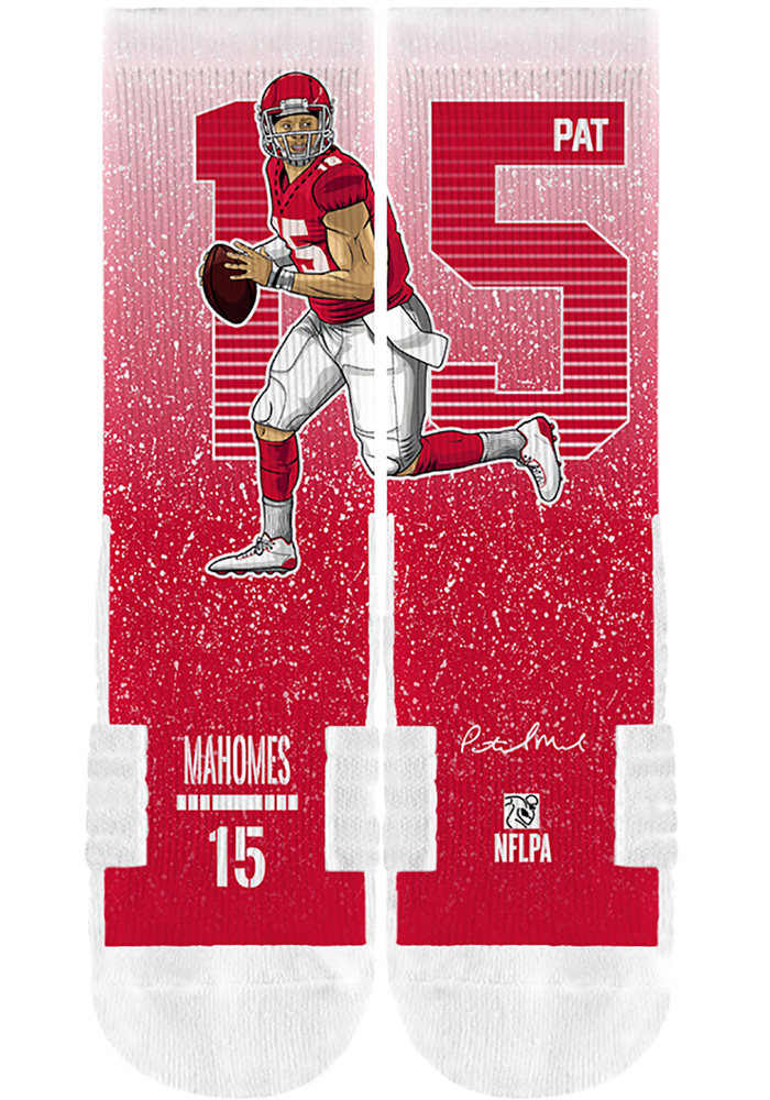 Patrick Mahomes Mens Red Player Crew Socks - Image 2