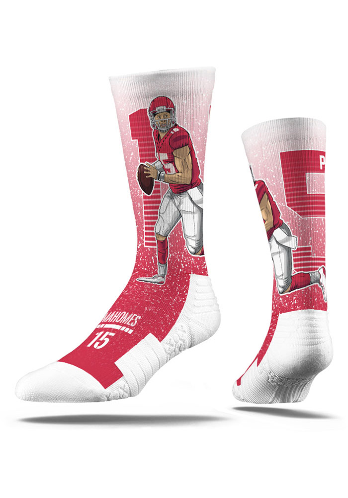 Patrick Mahomes Mens Red Player Crew Socks - Image 3