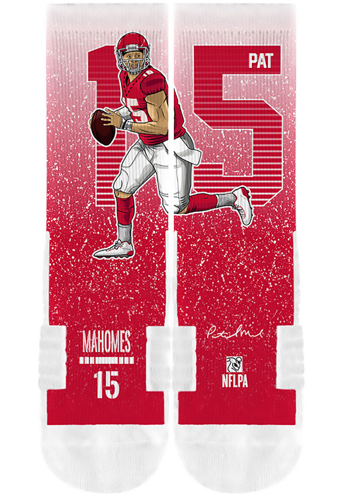 Patrick Mahomes Mens Red Player Crew Socks - Image 4