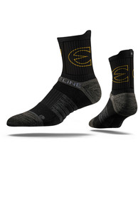 Strideline Emporia State Hornets Mens Black Performance Quarter Socks