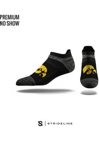 Strideline Iowa Hawkeyes Mens Black Performance No Show Socks