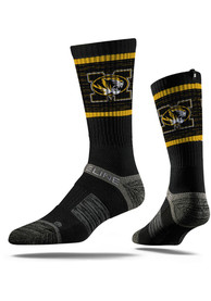 Strideline Missouri Tigers Mens Black Performance Crew Socks