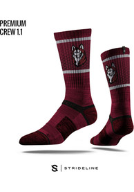 Strideline Bloomsburg University Huskies Mens Maroon Performance Crew Socks