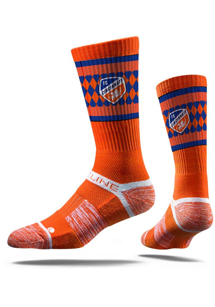 Strideline FC Cincinnati Mens Orange Premium Crew Socks