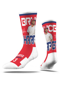 Bryce Harper Philadelphia Phillies Mens Red Stud Crew Socks