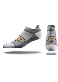 Strideline Purdue Boilermakers Mens Grey Team Logo No Show Socks