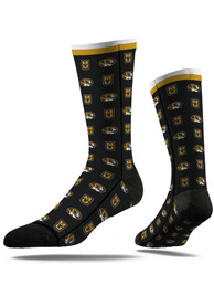 Strideline Missouri Tigers Mens Black Repeat Argyle Socks