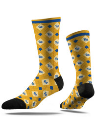 Strideline Pitt Panthers Mens Yellow Repeat Argyle Socks
