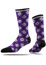 Strideline TCU Horned Frogs Mens Purple Repeat Argyle Socks