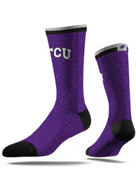 Strideline TCU Horned Frogs Mens Purple Speckle Dress Socks