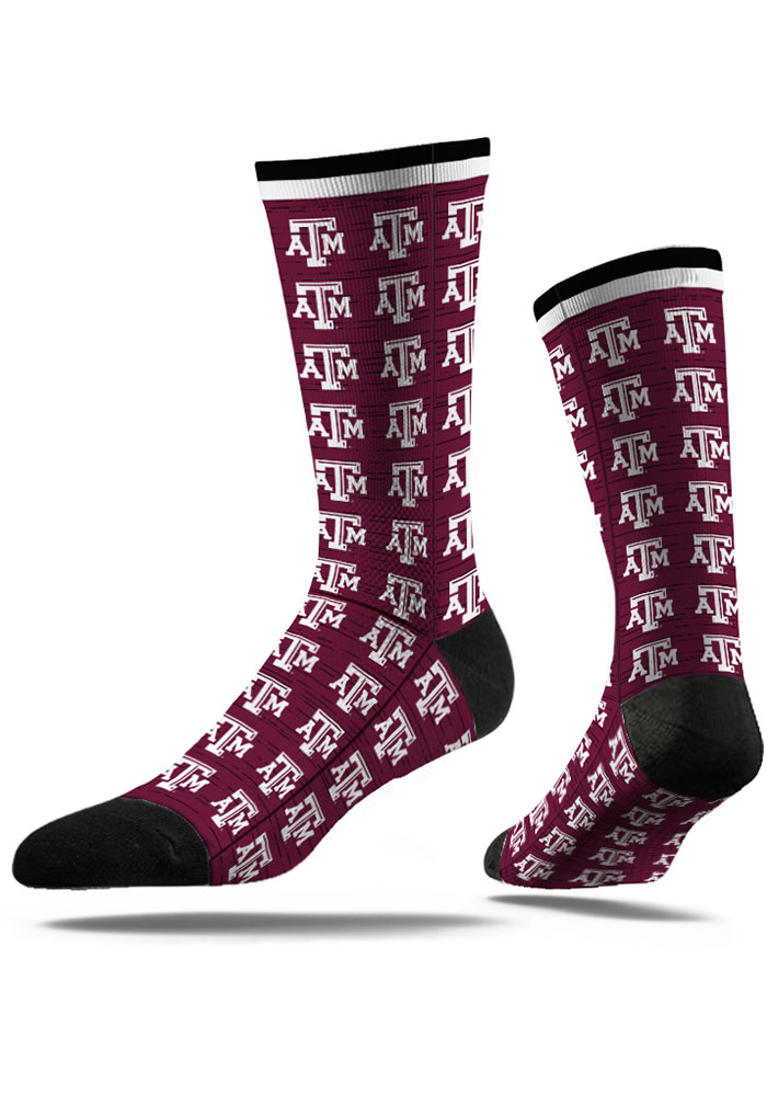 Strideline Texas A&M Aggies Mens Maroon Repeat Argyle Socks