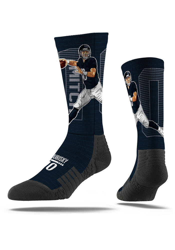 Mitch Trubisky Chicago Bears Mens Navy Blue Action Crew Socks