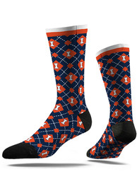 Illinois Fighting Illini Strideline Repeat Argyle Socks - Orange