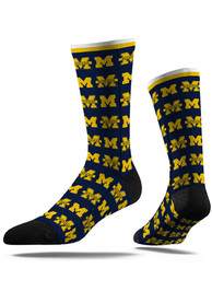 Michigan Wolverines Strideline Step and Repeat Dress Socks - Blue