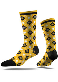 Northern Kentucky Norse Strideline Repeat Argyle Socks - Yellow