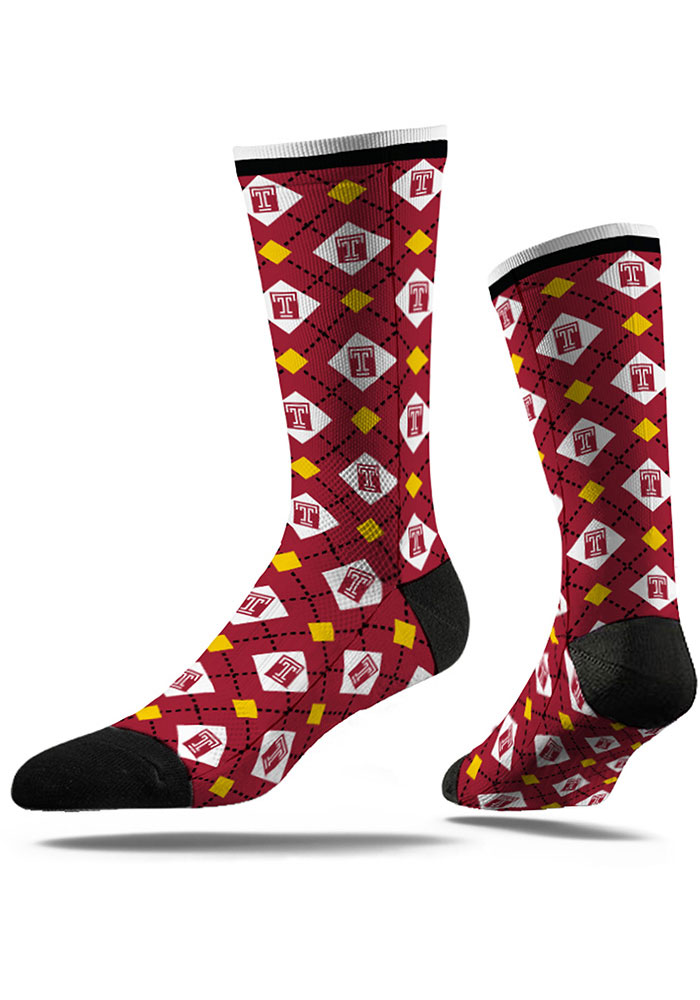 Temple Owls Strideline Repeat Argyle Socks - Red