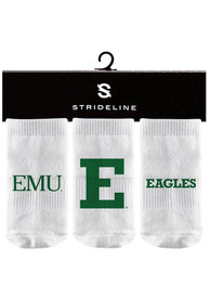 Eastern Michigan Eagles Baby Strideline 3PK Quarter Socks - White