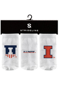 Illinois Fighting Illini Baby Strideline 3PK Quarter Socks - White