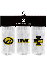 Iowa Hawkeyes Baby Strideline 3PK Quarter Socks - White
