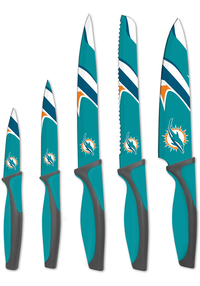 Miami Dolphins Teal 5-Piece Kitchen Knives Set - Image 1