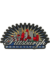 Pittsburgh Skyline Sunburst Rubber Magnet