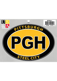 Pittsburgh PGH Steel City Euro Oval Auto Decal - Yellow