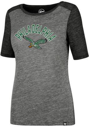 '47 Philadelphia Eagles Womens Encore Empire Grey Scoop T-Shirt