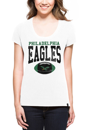 '47 Philadelphia Eagles Womens Knockaround Splitter White Scoop T-Shirt