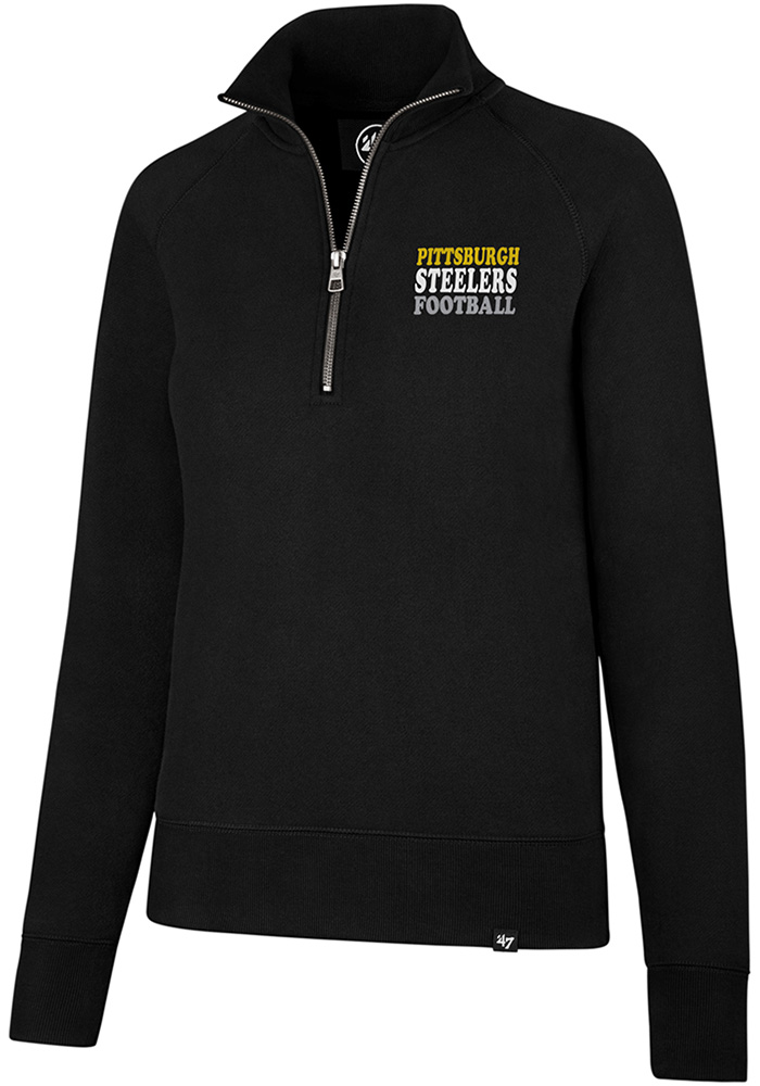 '47 Pittsburgh Steelers Womens Black Shimmer Headline 1/4 Zip Pullover, Black, 60% COTTON / 40% POLYESTER, Size L