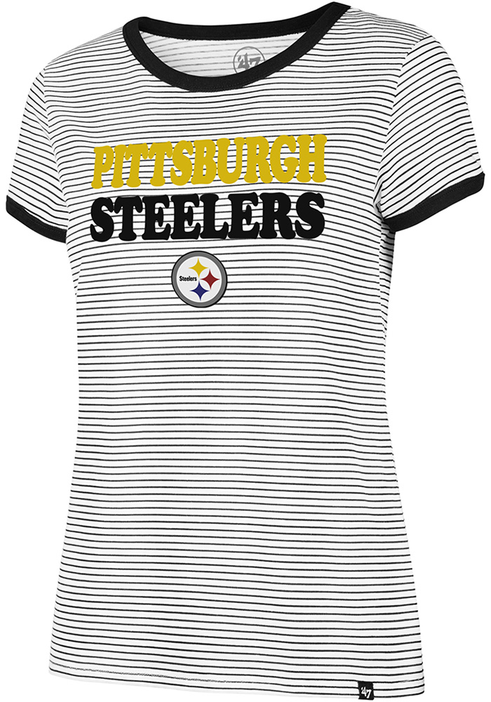 ee1d34719  47 Pittsburgh Steelers Womens Striped Ringer White T-Shirt