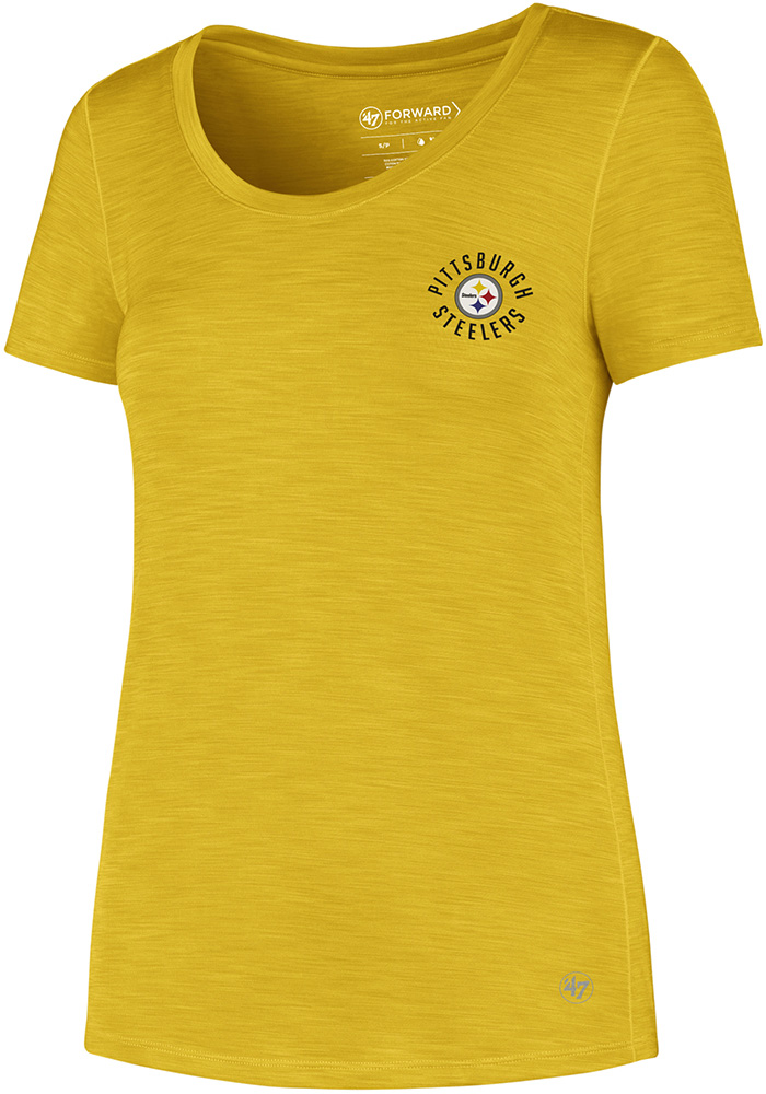 '47 Pittsburgh Steelers Womens Gold Microlite Shade T-Shirt - Image 1