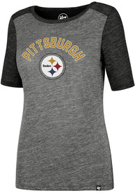 47 Pittsburgh Steelers Womens Encore Empire Grey Scoop T-Shirt