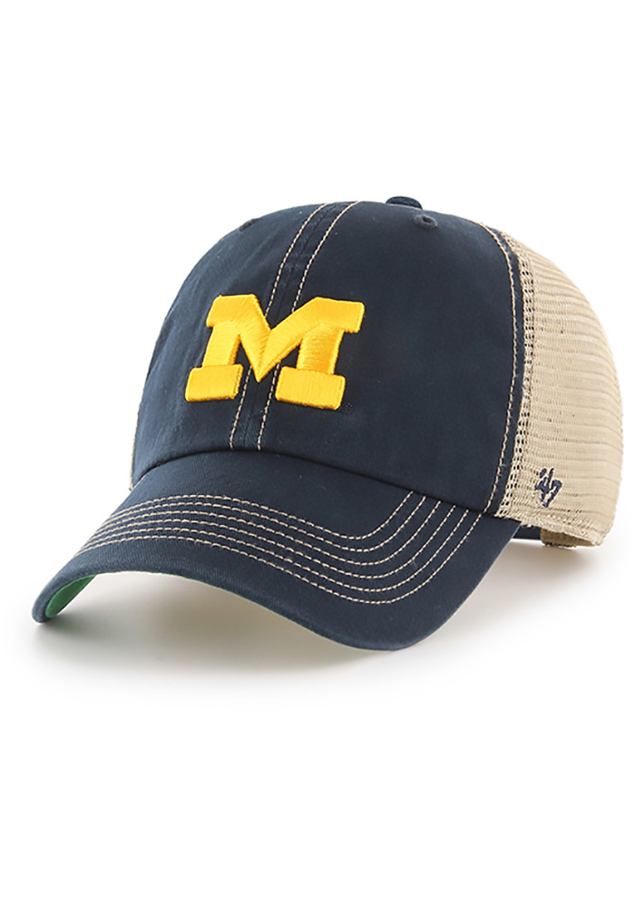 47 Michigan Wolverines Navy Blue Trawler Clean Up Adjustable Hat 4c6e28a424eb