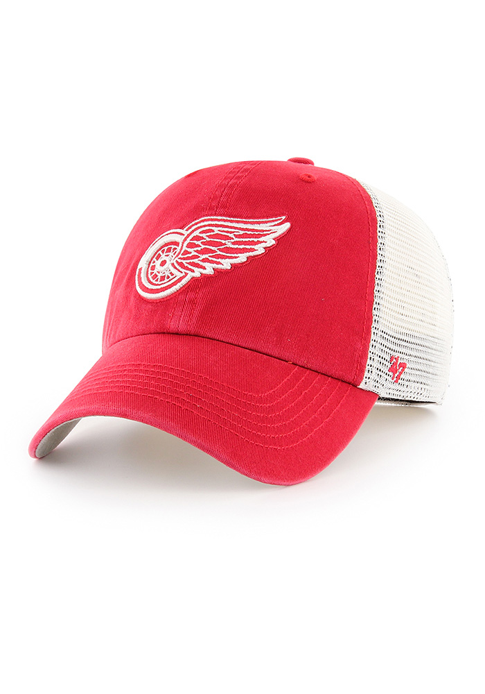 '47 Detroit Red Wings Mens Red Blue Hill Closer Flex Hat - Image 1