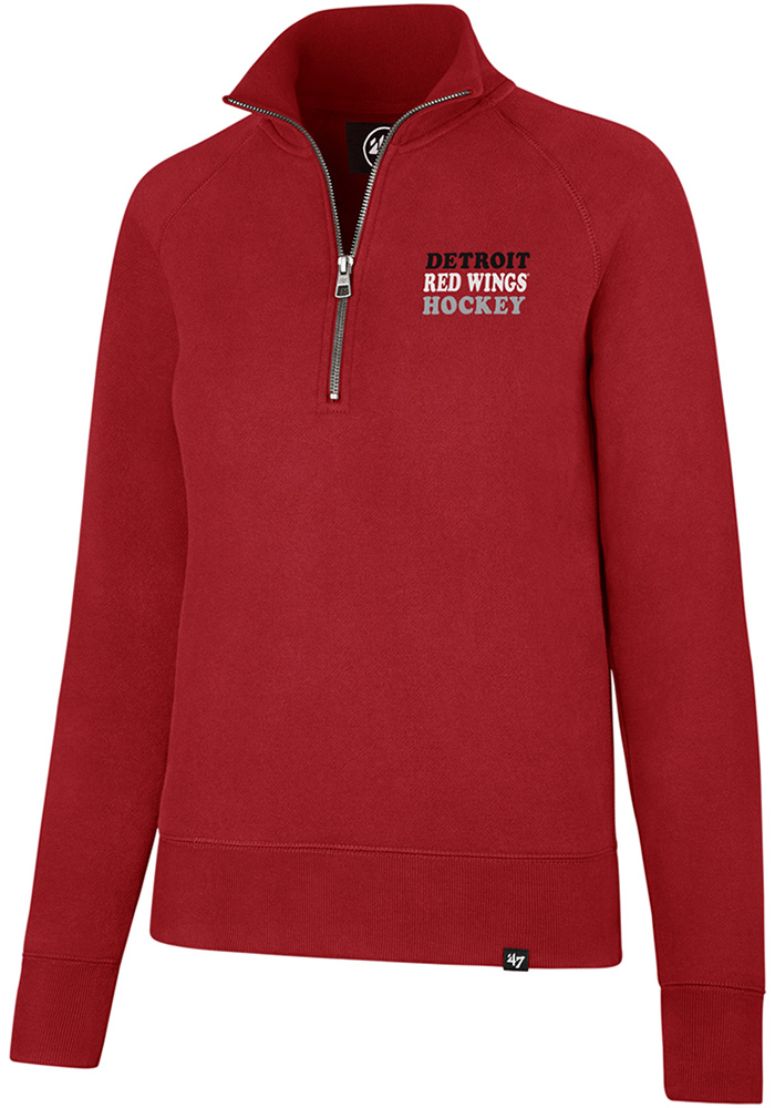 '47 Detroit Red Wings Womens Red Shimmer Headline 1/4 Zip Pullover, Red, 60% COTTON / 40% POLYESTER, Size M
