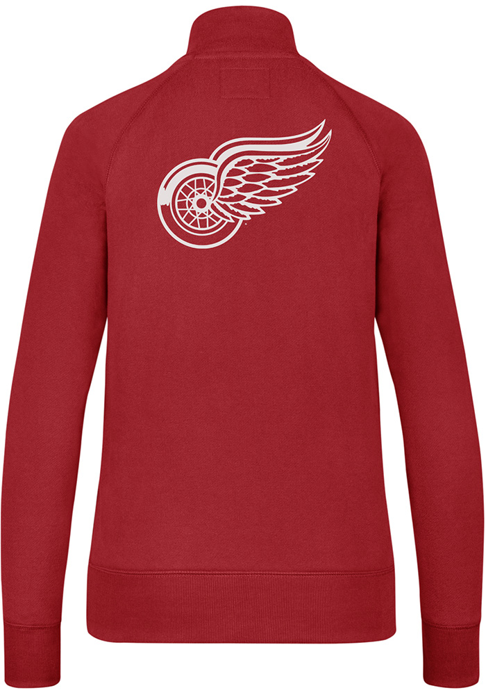 47 Detroit Red Wings Womens Red Shimmer Headline 1/4 Zip Pullover - Image 2