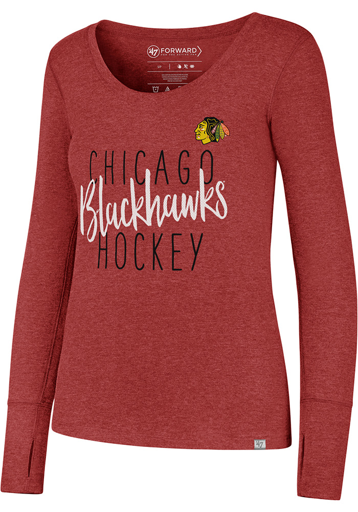'47 Chicago Blackhawks Womens Red Forward Athleisure Tee - Image 1